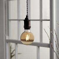 Diall E27 6W 470lm Globe Warm white LED Filament Light bulb