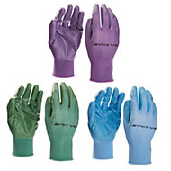 Verve Nylon Green, blue & purple Gardening gloves, Medium