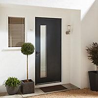 Contemporary Grey Aluminium Glazed External Front door & frame LH, (H)2055mm (W)840mm