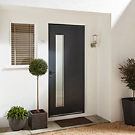 Frosted Glazed Contemporary Lacquered Grey Aluminium RH External Front Door, (H)2055mm (W)840mm