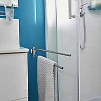 GoodHome Ormara Wall-mounted Silver effect Chrome-plated Towel rail (W)480mm