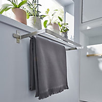 GoodHome Amantea Wall-mounted Brushed Towel rail (W)600mm
