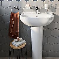 GoodHome Ormara Chrome effect Glass & steel Wall-mounted Tumbler
