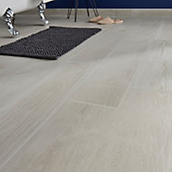 Pine wood White Matt Wood effect Porcelain Floor tile, Pack of 8, (L)800mm (W)200mm