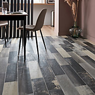 Worn wood Grey Matt Wood effect Porcelain Floor tile, Pack of 11, (L)600mm (W)150mm