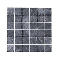 Shaded Slate Anthracite Stone effect Porcelain Mosaic tile, (L)305mm (W)305mm
