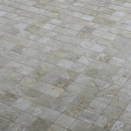 Shaded Slate Beige Stone effect Porcelain Mosaic tile, (L)305mm (W)305mm