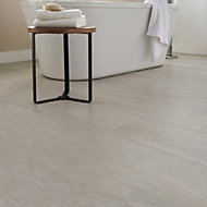 Soft travertin Ivory Matt Stone effect Porcelain Floor tile, Pack of 7, (L)600mm (W)300mm