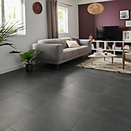 Natural Anthracite Satin Stone effect Porcelain Floor tile, Pack of 6, (L)600mm (W)300mm