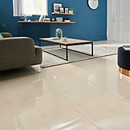 Elegance Beige Gloss Marble effect Ceramic Floor tile, Pack of 7, (L)450mm (W)450mm