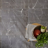 Elegance Silver Gloss Marble effect Ceramic Floor tile, Pack of 7, (L)600mm (W)300mm