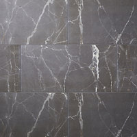 Elegance Silver Gloss Marble effect Ceramic Floor tile, Pack of 7, (L)600mm (W)300mm