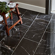 Elegance Black Gloss Marble effect Ceramic Floor tile, Pack of 7, (L)600mm (W)300mm