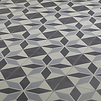 Hydrolic Black & white Matt Porcelain Floor tile, Pack of 25, (L)200mm (W)200mm