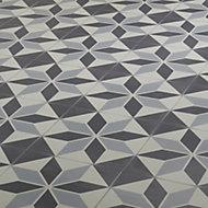 Hydrolic Black & white Matt Porcelain Floor tile, Pack of 25, (L)200mm (W)200mm