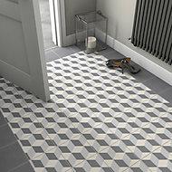 Hydrolic Black & white Matt Concrete Porcelain Floor tile, Pack of 25, (L)200mm (W)200mm