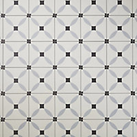 Hydrolic Black & white Matt Concrete Porcelain Floor tile, Pack of 25, (L)200mm (W)200mm