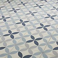 Hydrolic Blue Matt Circle Porcelain Floor tile, Pack of 25, (L)200mm (W)200mm