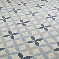 Hydrolic Blue Matt Porcelain Floor tile, Pack of 25, (L)200mm (W)200mm
