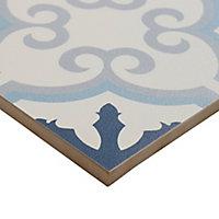 Hydrolic Blue Matt Concrete Porcelain Floor tile, Pack of 25, (L)200mm (W)200mm