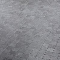 Palemon Grey Stone effect Porcelain Mosaic tile, (L)305mm (W)300mm