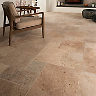 Tumbled travertine Cream Matt Stone effect Natural stone Floor tile, Pack of 6, (L)610mm (W)406mm