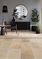 Real Tumbled Travertine Cream Natural stone Floor tile, Pack of 3, (L)406mm (W)610mm