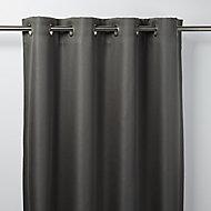 Moggo Dark grey Herringbone Blackout Eyelet Curtain (W)117cm (L)137cm, Single