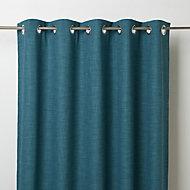 Novan Blue Plain Blackout Eyelet Curtain (W)117cm (L)137cm, Single