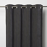 Pahea Dark grey Chenille Blackout Eyelet Curtain (W)167cm (L)183cm, Single