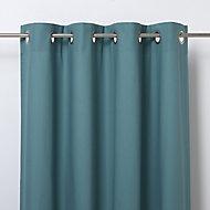 Hiva Blue Plain Unlined Eyelet Curtain (W)167cm (L)228cm, Single