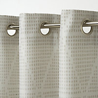 Kalay Beige Geometric Unlined Eyelet Curtain (W)117cm (L)137cm, Single