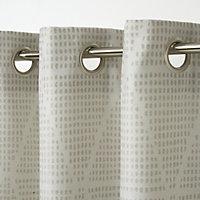 Kalay Beige Geometric Unlined Eyelet Curtain (W)167cm (L)183cm, Single