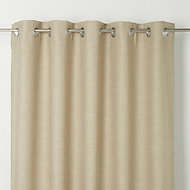 Novan Beige Plain Unlined Eyelet Curtain (W)117cm (L)137cm, Single