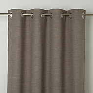 Novan Beige Plain Unlined Eyelet Curtain (W)167cm (L)228cm, Single