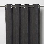 Pahea Dark grey Chenille Unlined Eyelet Curtain (W)117cm (L)137cm, Single