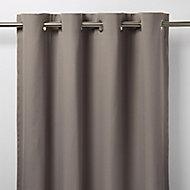 Taowa Grey Plain Unlined Eyelet Curtain (W)167cm (L)183cm, Single