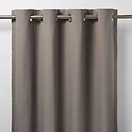 Taowa Grey Plain Unlined Eyelet Curtain (W)167cm (L)228cm, Single