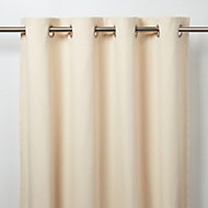 Taowa Beige Plain Unlined Eyelet Curtain (W)117cm (L)137cm, Single