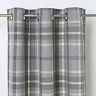 Podor Grey Check Unlined Eyelet Curtain (W)140cm (L)260cm, Single