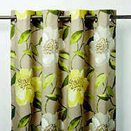 Louga Green, grey & yellow Floral Unlined Eyelet Curtain (W)140cm (L)260cm, Single