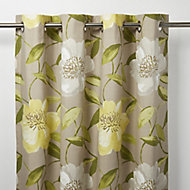 Louga Green, grey & yellow Floral Unlined Eyelet Curtain (W)117cm (L)137cm, Single