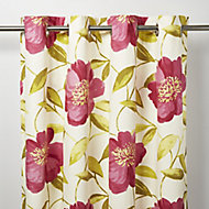 Louga Cream, green & pink Floral Unlined Eyelet Curtain (W)117cm (L)137cm, Single