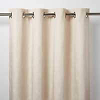 Melfi Beige Floral Unlined Eyelet Curtain (W)117cm (L)137cm, Single