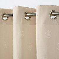 Melfi Beige Floral Unlined Eyelet Curtain (W)167cm (L)228cm, Single