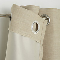 Novan Beige Plain Blackout Eyelet Curtain (W)140cm (L)260cm, Single