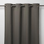 Vestris Dark grey Plain Blackout Eyelet Curtain (W)140cm (L)260cm, Single