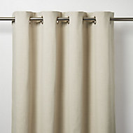 Tiga Beige Plain Unlined Eyelet Curtain (W)140cm (L)260cm, Single