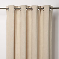 Pahea Beige Chenille Unlined Eyelet Curtain (W)135cm (L)260cm, Single