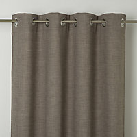 Novan Beige Plain Unlined Eyelet Curtain (W)140cm (L)260cm, Single